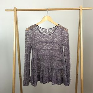 Free People • Lace Long Sleeve Top Boho Size Small